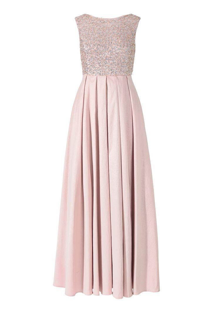 Exklusives, langes Abendkleid in Rosenholz. Das ärmellose Oberteil mit U-Boot Ausschnitt ist mit schillernden Pailletten bestickt, die dem rosa Kleid seinen glamourösen Charakter verleihen. Der in der Taille beginnende und in Falten...