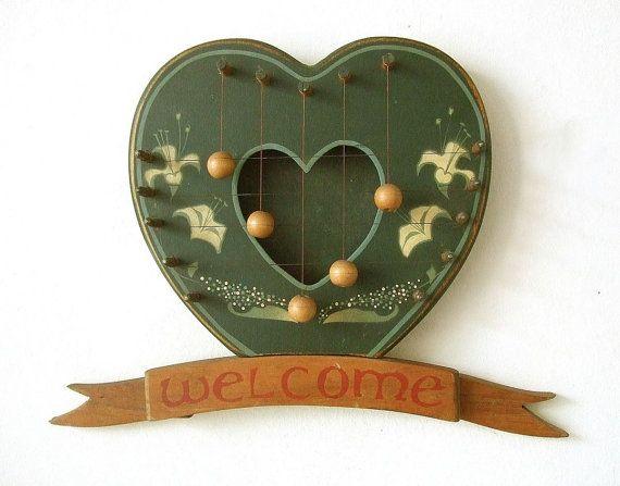Vintage Rustic Heart Door Harp  Wooden frame welcome scroll celtic style handpainted flowers