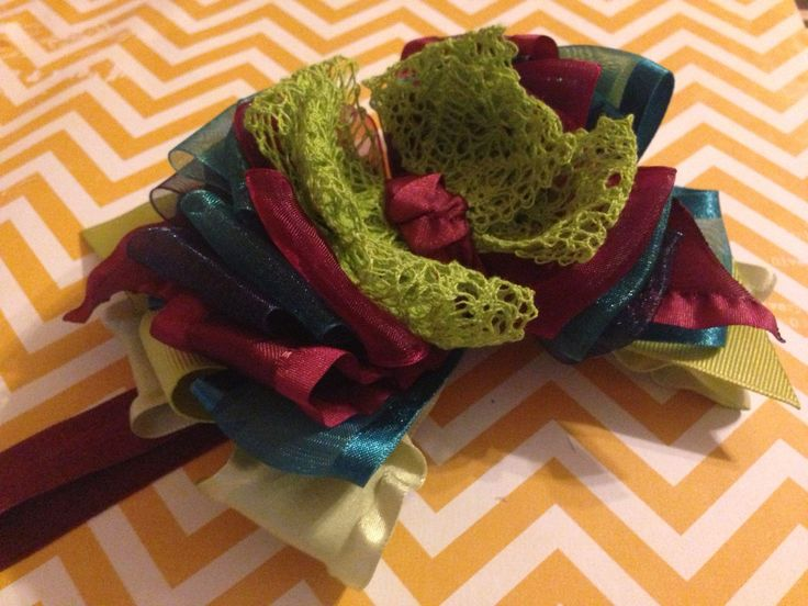 Double ruffle bow made to match persnickety baby Penelope.