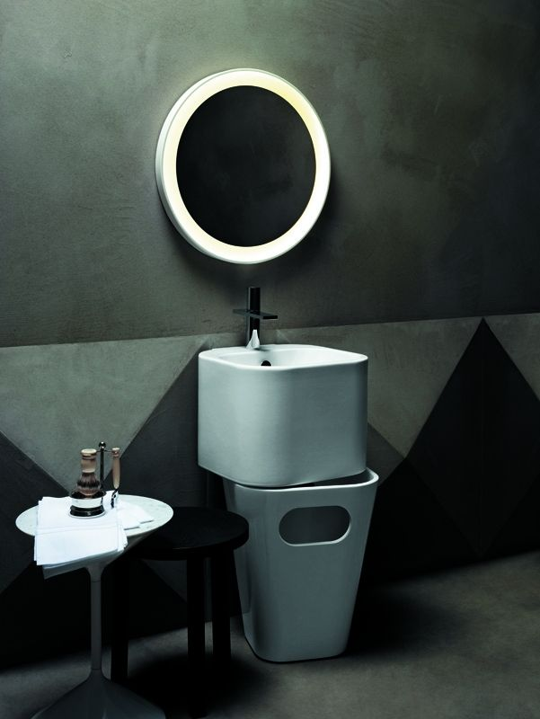 Tandem. Wall-hung Washbasin and Laundry Basket | Azzurra Ceramica S.p.A.