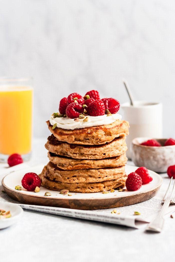 Whole Wheat Orange Pancakes with Maple Tahini Syrup