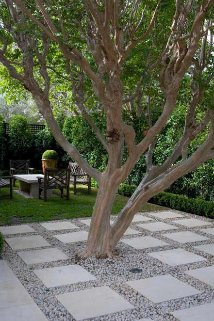 Rock Landscaping Under Trees : Pea gravel patio on and stone