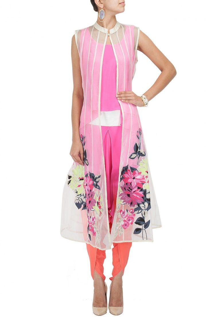 Off white appliqued kali jacket with pink top and dhoti paants BY VASAVI SHAH. Shop now at perniaspopupshop.com #perniaspopupshop #clothes #womensfashion #love #indiandesigner #vasavishah #happyshopping #sexy #chic #fabulous #PerniasPopUpShop #ethnic #fun