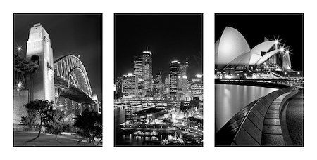 Trilogy set of  the Sydney Opera Housethe Harbor by SCENICPHOTO