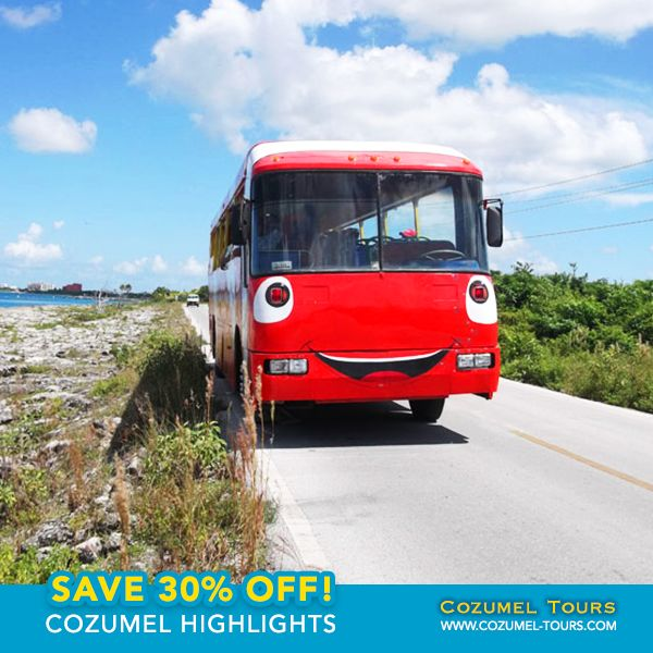 Join us for an excursion into the colorful past and charming present of Cozumel, Mexico's biggest cruise ship destination.  We'll board our friendly Nemo safari bus and enjoy a scenic tour of Cozumel, the largest inhabited island in Mexico.