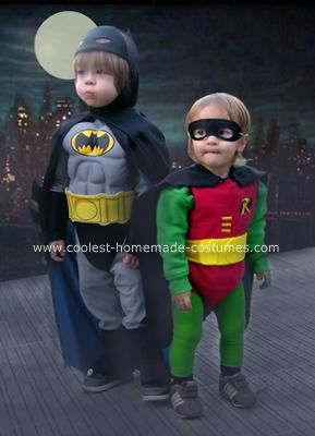 Homemade Batman and Robin Halloween Costumes: The Robin costume was made from thrift store items. This involved many trips to countless stores to find the right items to fit my son. There were many