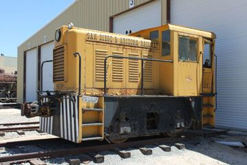 AGREX Whitcomb 45-Ton #n/n. A 25-ton diesel-electric built by H. K. Porter in Pittsburgh, this little switcher was probably one of 6 built for stock in 1947-48. It was sold to the National Supply Company in Torrance, CA, and numbered #1. It is equipped with a Cummins HBI 600 150 hp diesel engine and Westinghouse 189R7 300-volt generator which powers a Westinghouse 14434 traction motor on its rear axle connected by a chain drive to the non-motored front axle.
