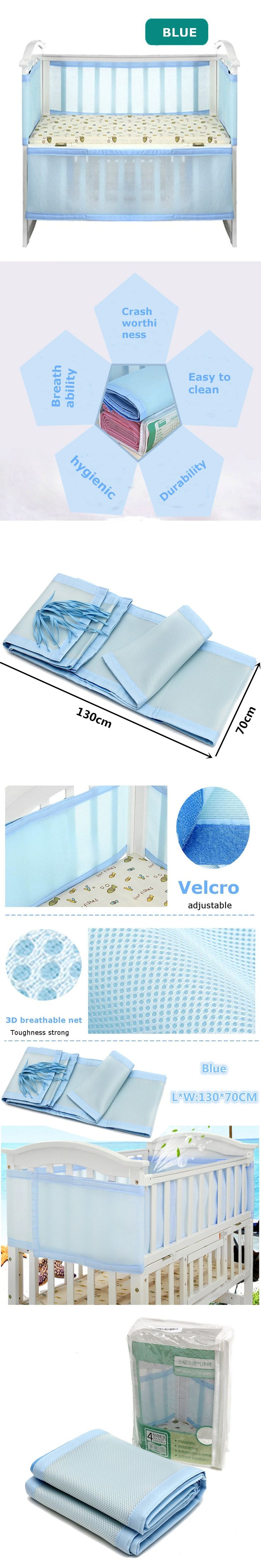 Breathable Blue Infant Baby Air Pad Cot Bumper Mesh Protection Cover Infantile Bedding Baby Safety Baby Care Supplies 130x70cm