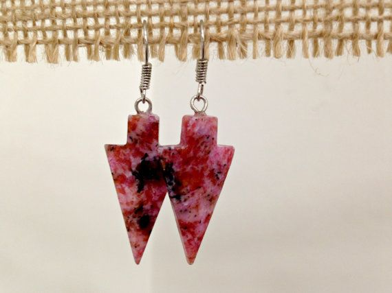 Pink Arrowhead Earrings by SCBoutique123 on Etsy
