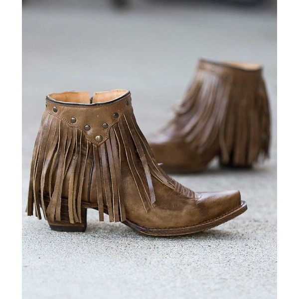 Corral Fringe Cowboy Boot - Brown US 7 ($160) ❤ liked on Polyvore featuring shoes, boots, ankle booties, brown, cowgirl boots, short cowboy boots, short booties, brown fringe boots and studded booties