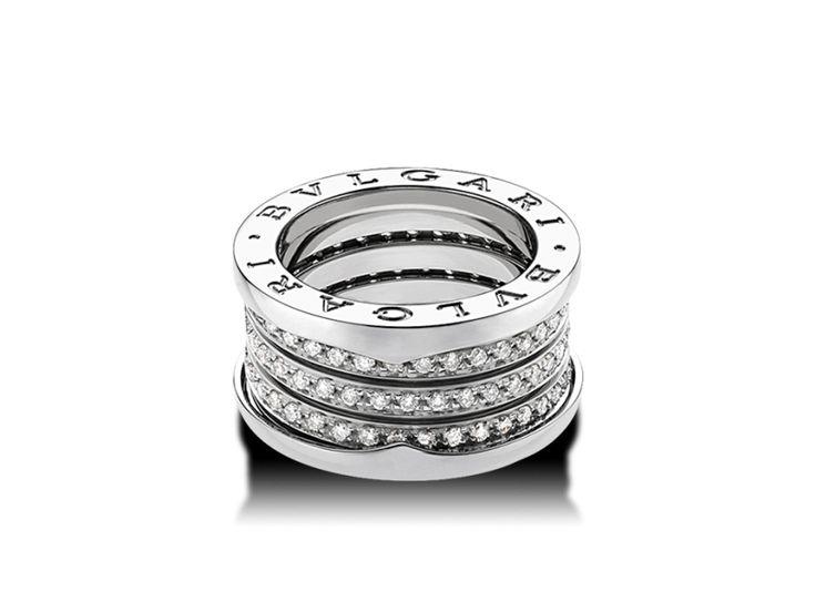 bvlgari ring ring in white gold with pav diamonds