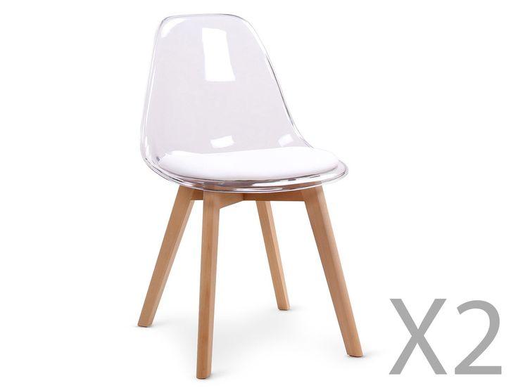 Lot de 2 chaises scandinaves Bovary Plexi Blanc
