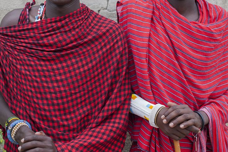 Masai shuka checks and stripes, seen at Nungwi Beach in Zanzibar