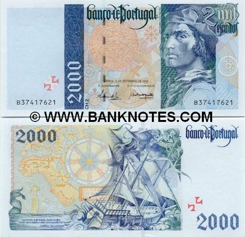 Portugal 2000 Escudos 1997 Obverse: Ancient Cruzado coin; Bartholomeu Dias; Reverse: Ancient map and compass; sailing ship. Watermark: Bartolomeu Dias.