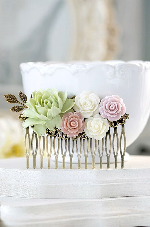 Bridal Hair Comb Large Dusty Pink Ivory Mauve Mint Pistachio Green Wedding Hair Comb Gold Leaf  Powder Pink Rose Garden Wedding Hairpiece by LeChaim on Etsy https://www.etsy.com/listing/236916043/bridal-hair-comb-large-dusty-pink-ivory