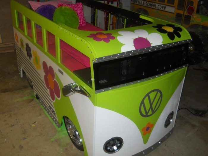 VW~Lowrider Chopped Volkswagon VW Bus - Monster Truck Beds..... For Francesca's daughter one day!