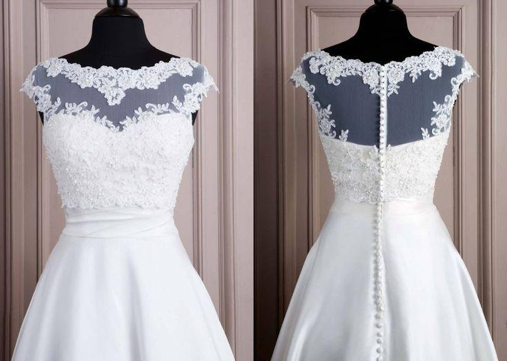 ... Kurze Ärmel, Brautkleid Kurz Spitze og Hochzeitskleid Wadenlang