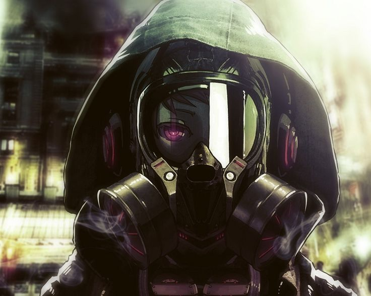 - Anime girl with gas mask ...