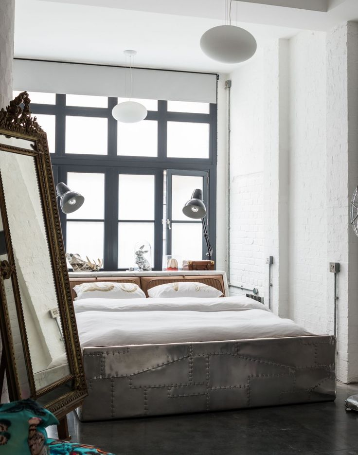 industrial bedroom furniture melbourne%0A Modern Grey Bedroom with Ornate Freestanding Mirror and AMAAZING industrial  bed