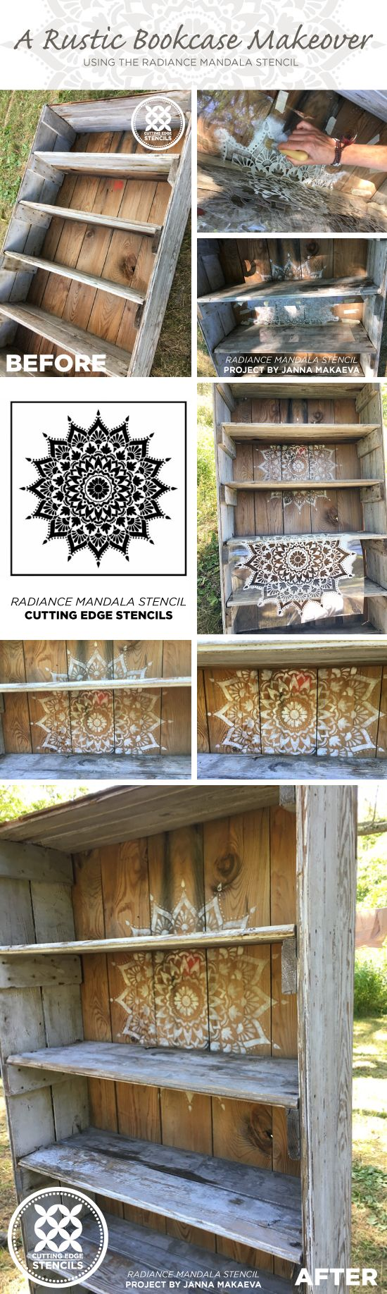 Learn how to stencil a rustic bookcase using the Radiance Mandala Stencil from Cutting Edge Stencils. http://www.cuttingedgestencils.com/radiance-mandala-stencil-yoga-mandala-stencils-decal.html