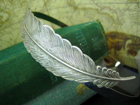 Large vintage style feather headband