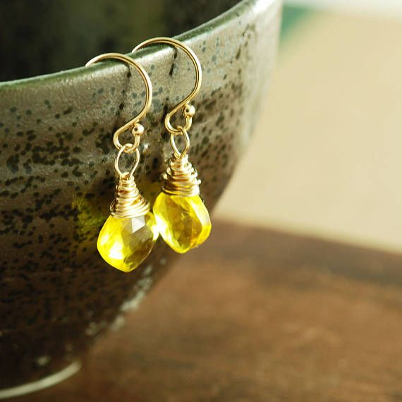 Delicate Sunshine Yellow Quartz Earrings in 14k Gold Fill