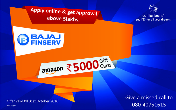 #Diwali Festive season starts with exciting offers on #personalloans at #Callforloans™. Get Rs.5000 Amazon Gift Card on approval of personal loan above Rs.5Lakhs. Apply Online Now : http://bit.ly/1J9xDbi