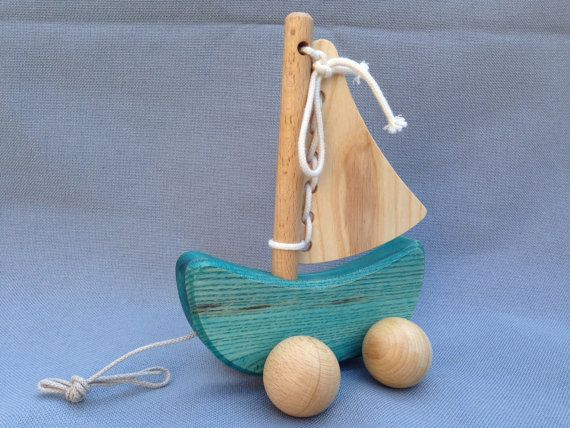 Pull along Sailing Boat is a great toy for every child. Little sailors can practice untying and tying the sail and then together with their boat