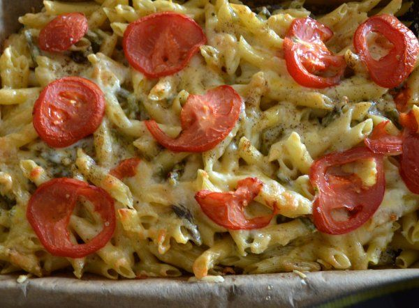 pasta with cheese and asparagus