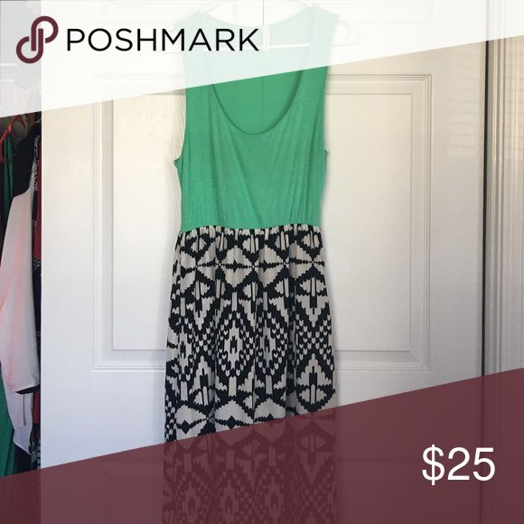 Aztec Maxi Fun Aztec Maxi with a green top and a great neckline. Purchased from a boutique in Concan, Texas. Perfect for any occasion! Dresses Maxi
