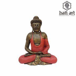 Estátua de Buda Bali sentado Vermelho 50cm - Decoração Bali
