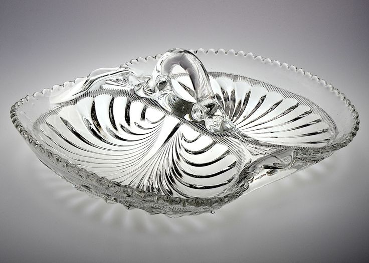 Antique Mid-Victorian pressed moulded, handled, twin section glass pickle dish. Excellent condition. H. 8cm. Width 20cm. Length 22cm. http://www.antiques-atlas.com/yoreantiques/browse.php?code=as645a066