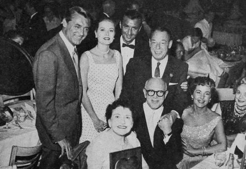 """princessgracekelly1956:  """" Las Vegas, April 1955: Louella Parsons at a Variety Club event held in her honor. Among the guests were Grace Kelly and Cary Grant [x]  'So many of my favorite people were there. Jimmy McHugh, Joe E. Lewis behind him, and..."""