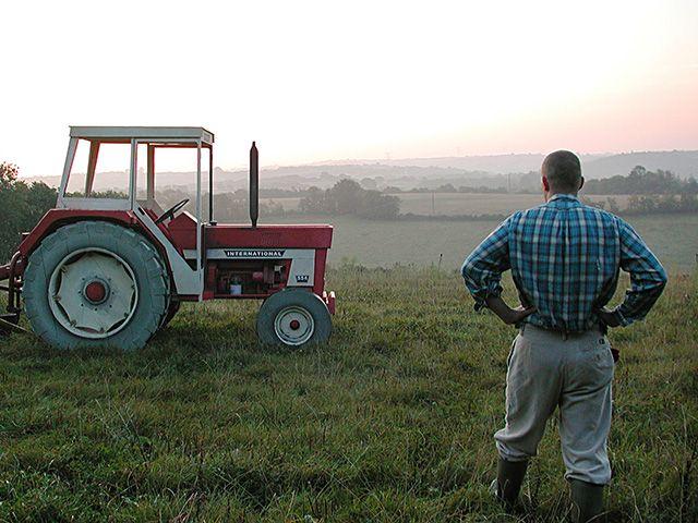 Pascal RIVET, IH (dédicace à Francis), 2001. Réplique éch.1 d'un tracteur de marque international Harvester modèle 554, voliges de sapin et bois divers peints, 340 x 250 x 2 cm. Collection Frac Languedoc-Roussillon.