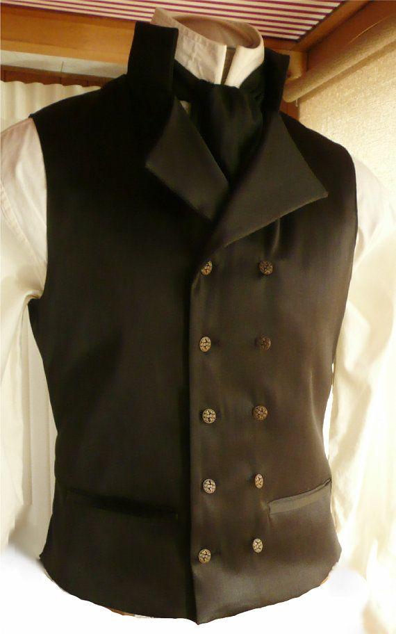 Mans Black Satin English Regency Double Breasted Vest Wedding Groom Waistcoat French Empire