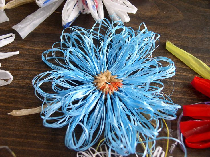 Recycled plastic bag flowers
