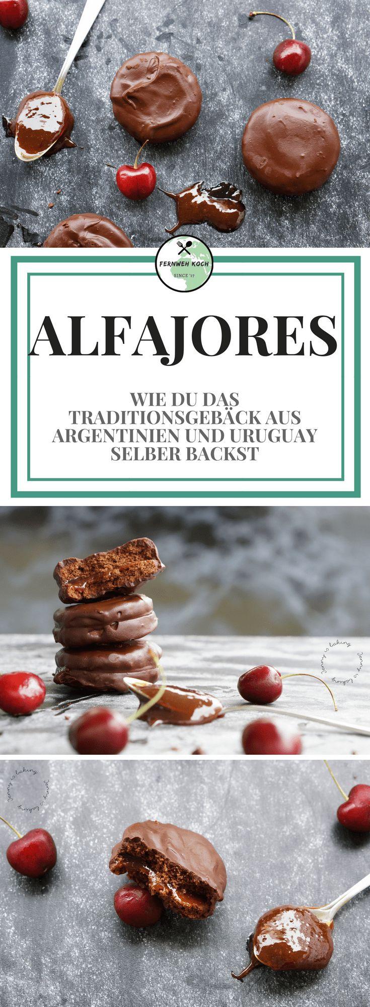 Alfajores sind eines der beliebtesten Gebäcke aus Uruguay und Argentinien. Sie werden quasi jederzeit gerne als kleiner Pausensnack von groß und klein gegessen. In diesem Rezept gibt es die Alfajores mit Schokolade und Dulce de Leche verfeinert. #Alfajores #Rezept #Uruguay #Argentinien #Gebäck #backen #Keks