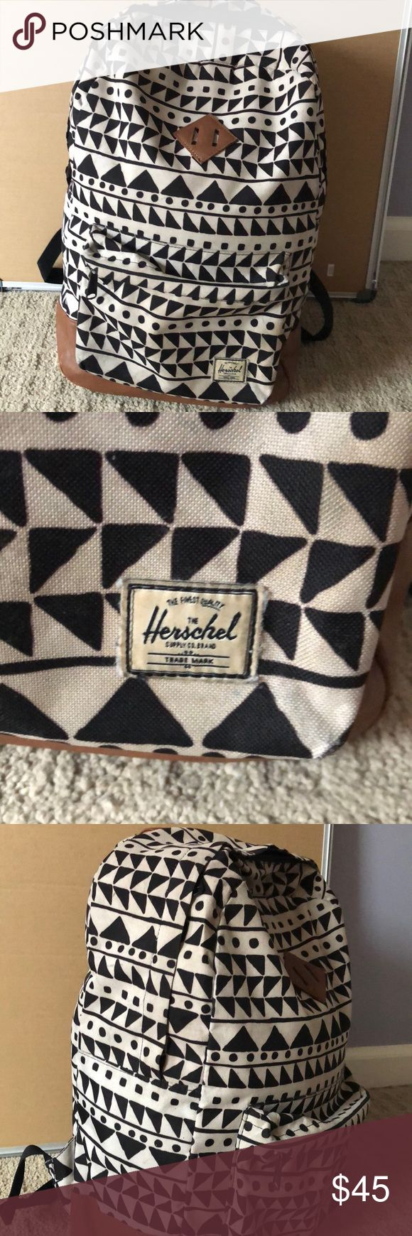 Slightly used Herschel backpack. Tribal print. Slight used you can see a little wear on the leather price reflects that. Laptop pocket and secret compartment inside. No rips or tears. Good quality. Bags Backpacks