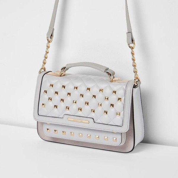 River Island Grey studded mini cross body chain bag ($56) ❤ liked on Polyvore featuring bags, handbags, bags / purses, grey, satchels, women, hand bags, quilted hand bags, handbag purse and chain strap purse