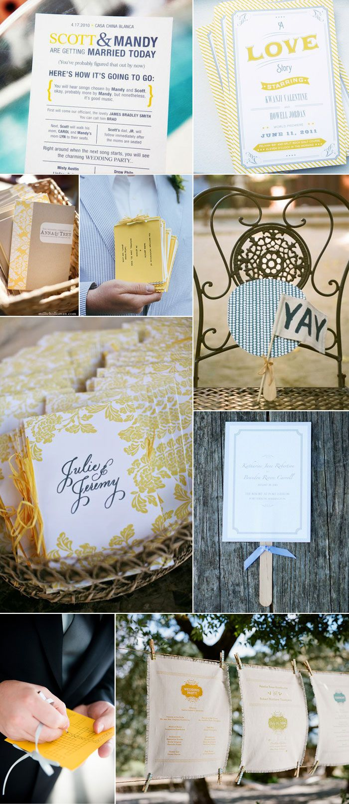 Grey/yellow/blue- grey dresses with yellow and blue flowers wrapped in burlap