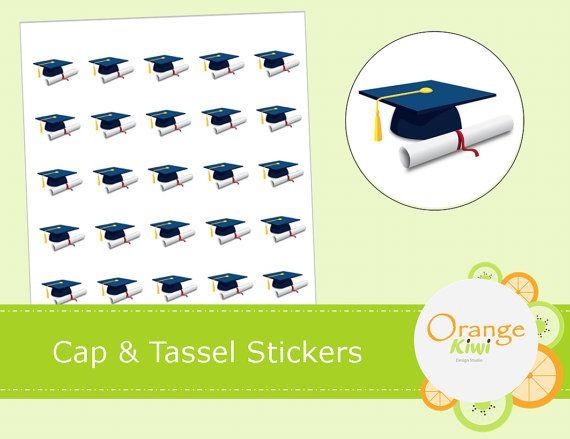 Graduation Stickers  Cap and Tassel Stickers  by OrangeKiwiDesign