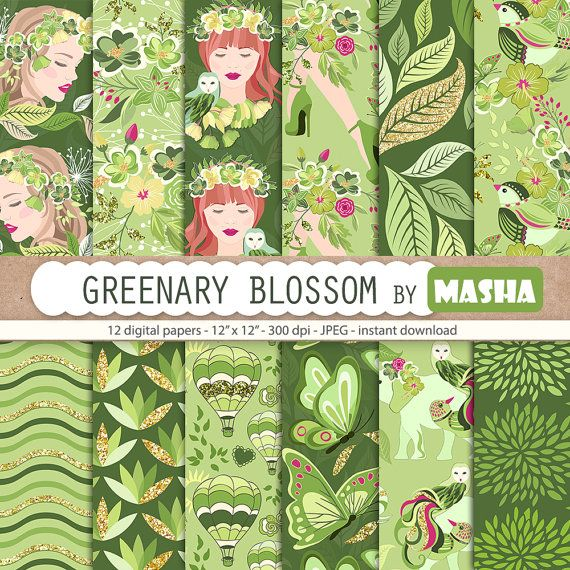 Greenery digital papers: GREENERY BLOSSOM pattern by MashaStudio #greenery #digital #paper #green #pattern #coloroftheyear2017 #floral #patterns #floralgirl #girl #bird #leaves #leaf #balloon #kale