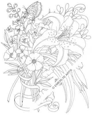 Lily - an adult coloring page by Cynthia Emerlye.
