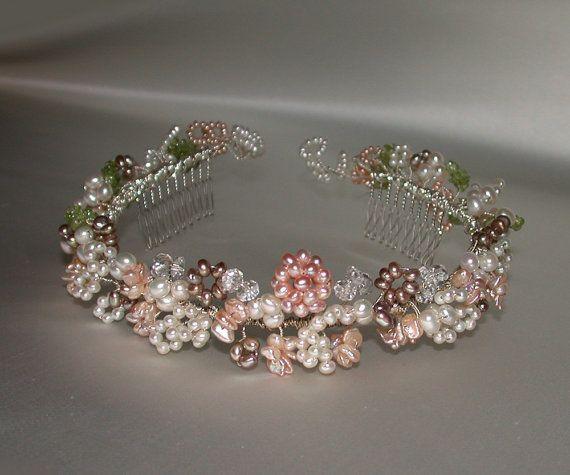 Pearl and crystal headband wreath Crystal by SabinaKWdesign