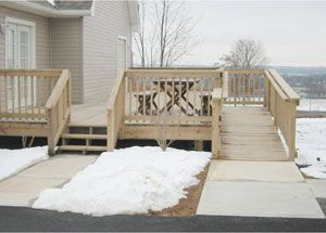 Outdoor deck and ramp combination - This site offers so many suggestions for making your home accessible!