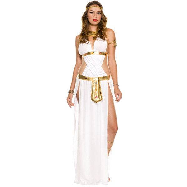 White Sexy Goddess Costume (135 BRL) ❤ liked on Polyvore featuring costumes, white, sexy lady costumes, sexy greek goddess costume, womens costumes, ladies costumes and goddess costume