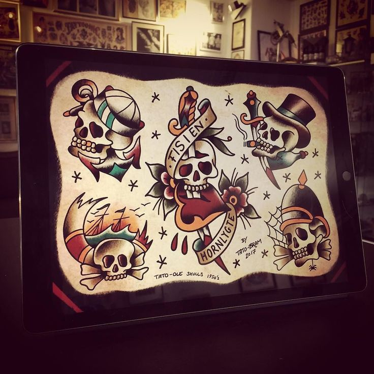 Tripping on Tato-Ole skulls from the 50's. Would be awesome to tattoo these #bramtattoo #bramtattooflash #belairtattoo #tatoole #nyhavn #tatovør #copenhagentattoo #københavn