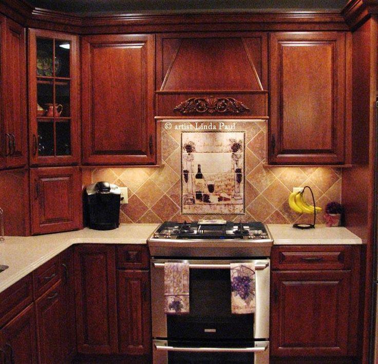 kitchen backsplash | Wall Tiles - Wine Country Kitchen Backsplash Tile Mural