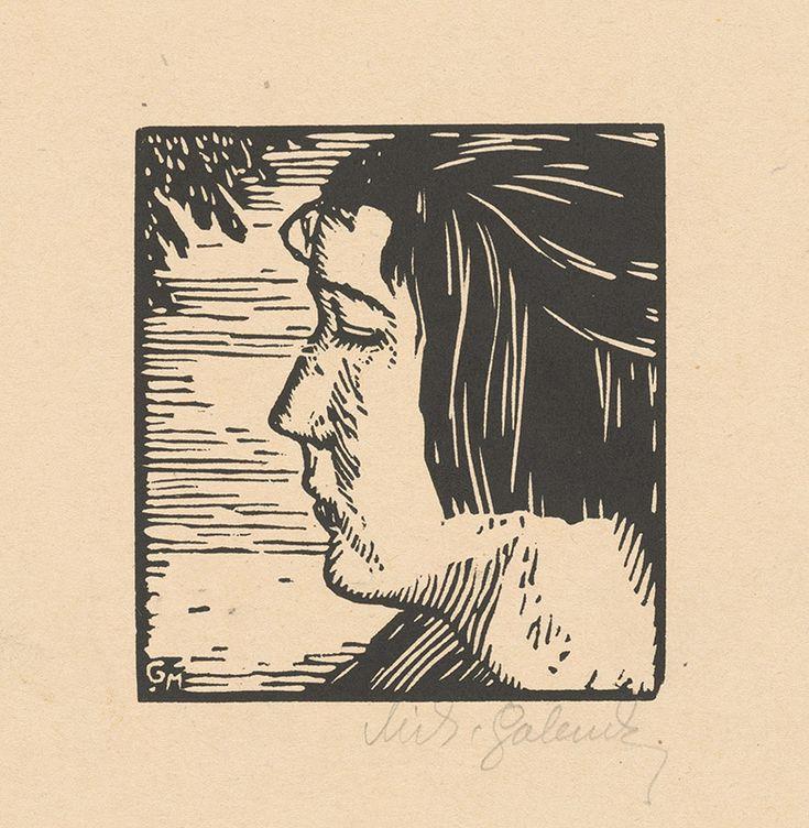 Mikuláš Galanda – Dievčenský profil, 1926, drevoryt