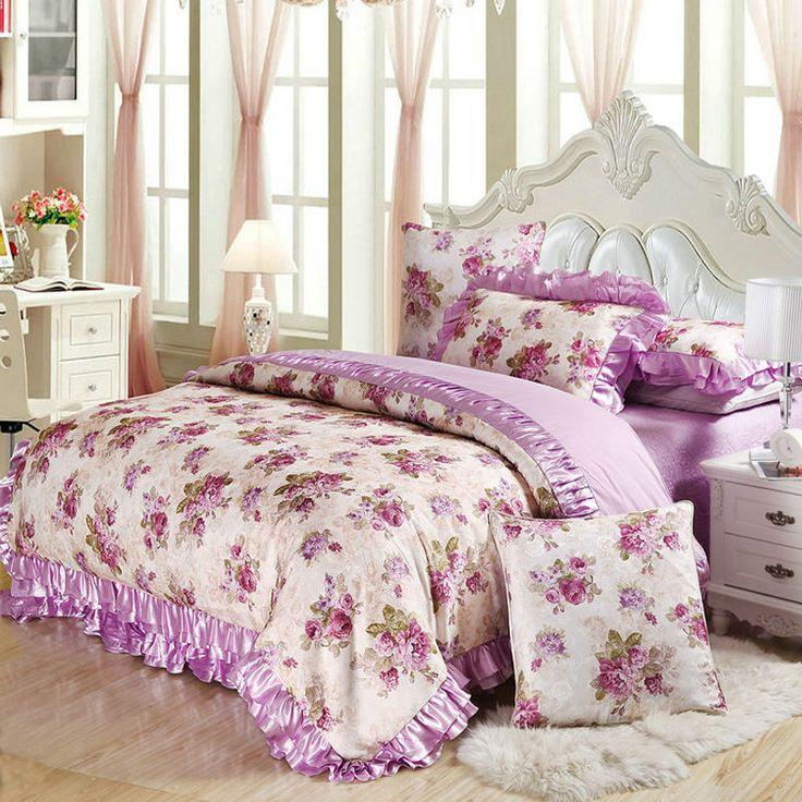 purple cotton satin bedding set queen king size 4pc or 6pcs bedclothes duvet cover